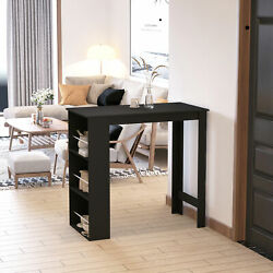 Modern Bar Table Counter Height Dining Table With 3-tier Storage Shelves