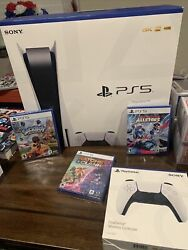 Playstation 5 Bundle [white Console] 2 Controllers And 3 Games Free Shipping