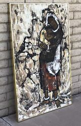 Vintage Mid Century Modern Brutalist Abstract Circa 1963 Signed Oil Painting Art
