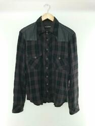 Chrome Hearts Leather Switching Cross Ball Button Check Shirt M Wool