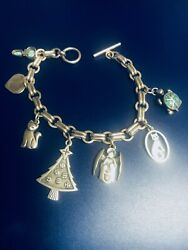 Charm Bracelet With Four James Avery Charms Christmas Tree , Cats Sterling