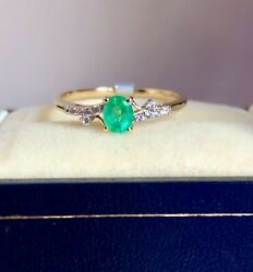 0.38ct Columbian Emerald Ring 9ct Y Gold P 1/2 'certified' Fab Colour And Glow