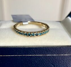 1/3ct Genuine Blue Diamond Ring Yellow Gold Size L 1/2 'certified' Fab Colour