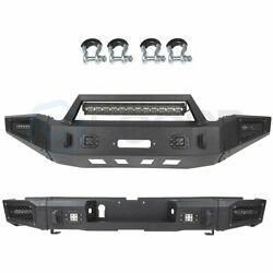 Heavy Steel Front Rear Bumper W/ Led Light Bar D-rings For 14-19 Toyota Tundra