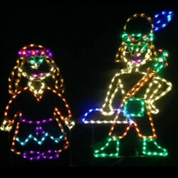Thanksgiving Indians Led Light Display Outdoor Yard Art Boy And Girl Wireframes