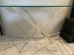 Mid-century Coffee Table With Lucite Base And Beveled glass Top