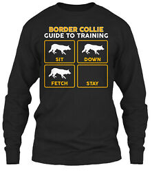 Funny Border Collie Shirt Training Guide Classic Long Sleeve T Shirt Cotton