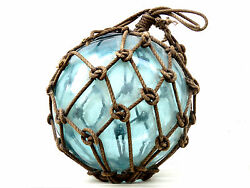9 6/8 Diameter Antique Glass Fishing Float With Net Cheap