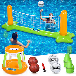 Inflatable Pool Volleyball Set And Basketball Hoop - Pool Toys Pool Games For Kid
