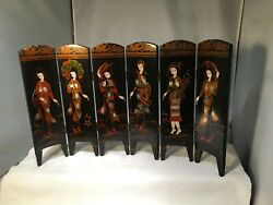 Asian Screen Room Divider Table Top Size 10 Tall Oriental Women 17 Lacquer Wow