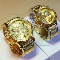 Us New Nixon 51-30 + 42-20 His And Hers Watch Set Chrono Gold A083502 Gift Sale