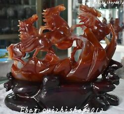 Unique 100 Natural Agate Onyx Running Success Horse Zodiac Year Animal Statue