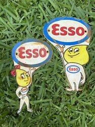 Vintage Esso Cast Iron Metal Sign Motor Oil Drop Boy Girl Advertising Gas Lube