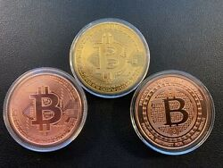 3 - 1oz Bitcoin .999 Copper And Gold P Round - Golden State Mint - Crypto Currency