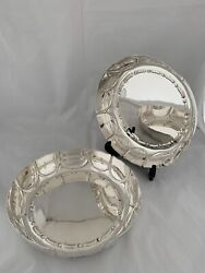 Pair Of Antique Silver Fruit Bowls 1903 London Barnards Sterling Strawberry Bowl