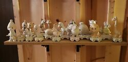 Lot Of 18 Precious Moments Animal Birthday Train With For Baby And Clown Statue