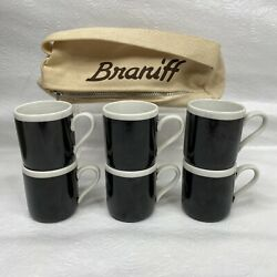 6 Vintage Braniff Airlines Black White Espresso Coffee Cups First Class + Bag