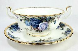 Royal Albert Moonlight Rose Footed Cream Soup Bowl And Saucer Two Handles