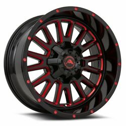4 New American Off-road Wheels A105 20x12 6x127 -44 Black Milled Red