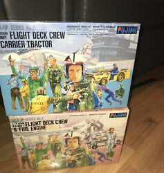 2 Us Navy Flight Deck Crew And Carrier Tractor Fire Engine Lot 1/72 Fujimi Nib