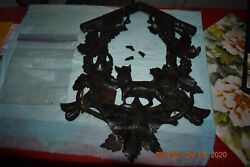 Antique Wooden Cuckoo Clock Front Only For Repair Or Parts Needs Gluing