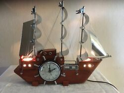 Vintage Mid Century, United Ship Clock, 3 Flags, Model 811, Lights And Clock Work