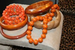 Vintage Bakelite Necklace Earring Lot All In Rust/ Orange/tans/brown Shades..