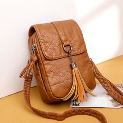Mini Soft Leather Cross body Bags for Women Solid Shoulder Travel Bag $13.95