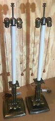 Vintage Stiffel Mission Style Solid Brass Base Candlestick Buffet Table Lamps