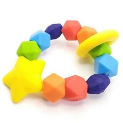 Baby Teether | Bpa-free Silicone Teething Ring And Sensory Chew Toy To Rainbow