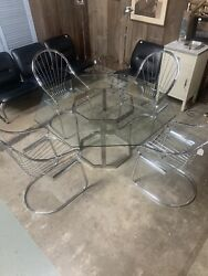 Mid Century Milo Baughman Chrome And Glass Dining Table And 4 X Cantilever Chairs