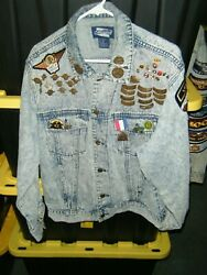 Vintage Denim Expressions Jacket Covered In Harley Davidson Pins And Patches