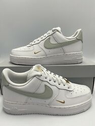 Nike Air Force 1 And03907 Ess Low White Grey Gold Cz0270-106 Womenand039s Sizes 7.5 - 10
