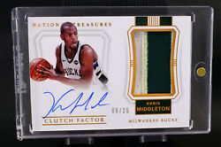 2017-18 National Treasures Clutch Factor Khris Middleton 06/25 Auto Patch