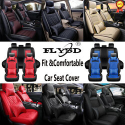 Luxury Leather Car Seat Covers Universal For 5-seats Auto Suv Full Set Cushion