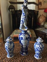 Three 19th C Antique Chinese Blue And White Porcelain Marked Vases