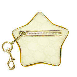 Authentic Gg Pattern Star Coin Case Chain Pvc Leather Ivory Italy 01mi192