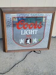 Vintage 1980's Coors Lighted Beer Mirror W/ Wooden Frame