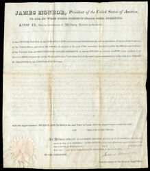 James Monroe - Land Grant Signed 07/25/1823 Co-signed By George Graham