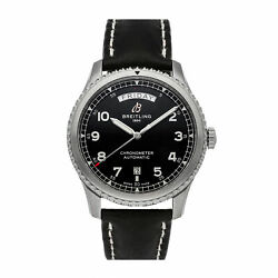 Breitling Aviator 8 Day And Date Auto 41mm Steel Mens Strap Watch A45330101b1x1