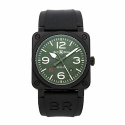 Bell And Ross Br-03 Military Type Auto Ceramic Mens Strap Watch Br0392-mil-ce