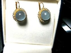 Vintage French 18k Rose Gold Earringsfine Natural Aquamarine And Seeds Pearl