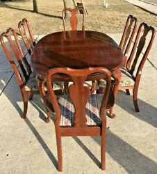 Ethan Allen Georgian Court Cherry Table And 4 Dining Side Chairs 2 Captains