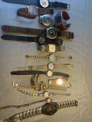 16 Mixed Untested Vintage Wear Repair Craft Wrist Watches Army Times Citizen