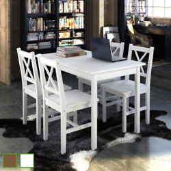 Quality Wooden Dining Table And 4 Chairs Set Kitchen Furniture White/brown Decor