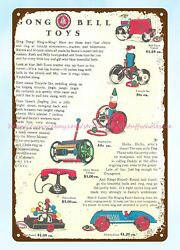 1930s Gong Bell Toys Ads Metal Tin Sign Wall Art Wall Decor