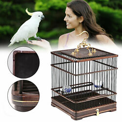 Vintage Wooden Bird Cages Bamboo Cage Birdcage Hanging Outdoor Parrot Cage New