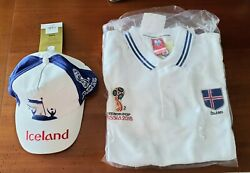World Cup 2018 Iceland Mens Large Polo Soccer Shirt And Matching Cap Both Nwt