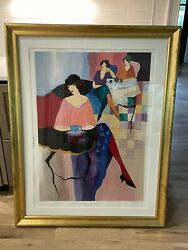 """Iztchak Tarkay """"three Women At Tea"""" Signed And Numbered 265/350 With Gold Frame"""