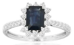 1.57ct Diamond And Aaa Sapphire 14k White Gold Emerald Cut And Round Engagement Ring